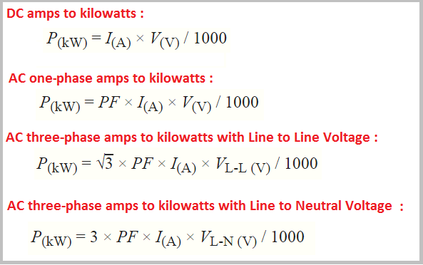 Amp to kw conversion, formula, chart, convert and calculator free.